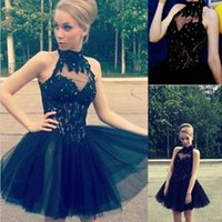 Stunning Short Prom Abitare una linea Halter High Neck Neck Homecoming Dresses Beaded Lace Appliques Illusion Bodice Tulle Gonna Party Wear