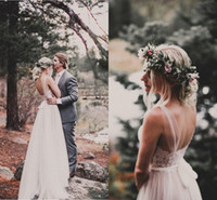 Romântico Vestidos de Casamento Boho Sheer Neck Sem Mangas Rendas Tule Marfim Nua Backless Praia Vestidos de Casamento Vestidos De Noiva Boêmio