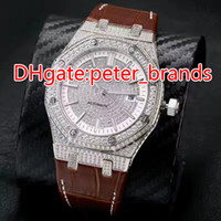 Mens automatic full diamonds silver case watch glass back br...