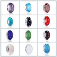 50pcs boutique placcato argento 925 boldface timbrato perle di vetro di murano gioielli fai da te accessori charms big hole bead adatto EUR Bracciali A-018