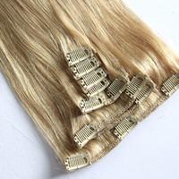 Niveau 9A - Couleur 8 # 100gram set clip dans le jeu de 18 pouces 7pcs de extensions de cheveux mis 18inch droite extension de cheveux d'onde, DHL gratuit