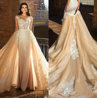 2018 Abiti da sposa champagne con gonna rimovibile Sheer Jewel Lace Zuhair Murad Abito da sposa Custom Made Mermaid Abiti da sposa