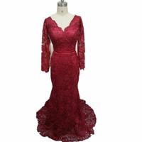 Elegante Robe De Soiree Custom Made Borgogna Mermaid con scollo av Abito da sera in pizzo Vestido De Festa Donna manica lunga Prom Gowns
