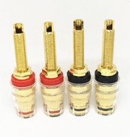 40pcs / lot borne en cristal de laiton pour fil audio haut-parleur amplificateur 4mm bornes bananes connecteur connecteur noir rouge