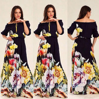 New plus size long summer dresses for womens fifth printing ...