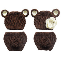 Crochet Twins Baby Teddy Bear Costume, Handmade Knit Baby Boy...