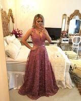 2020 neue Bling Abendkleider tragen V-Ausschnitt, Lila lange Spitze wulstige Sleeveelss Sweep Zug geöffnete zurück Partei-Kleid-formale Abendkleider