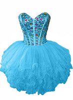 Vestido de fiesta de organza de abalorios con cuentas y volantes 2020 Vestido de fiesta con forma de bola Longitud de la rodilla Vestidos de baile