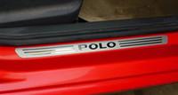 Pour le panneau de seuil de seuil de pédale de bienvenue en acier inoxydable de porte mince de seuil de seuil de porte en acier inoxydable pour les accessoires de voiture Polo 4pce / set