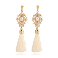 Europen and American style fashion pearl tassel pearl earrin...