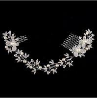 Роскошные свадебные головные уборы бабочка горный хрусталь жемчужина окружающей среды дружественных сплава свадьба длинные волосы расческой свадебные аксессуары для волос