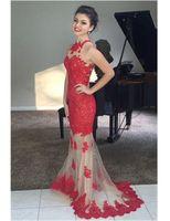2019 인기있는 스타일 인어 레드 레이스 이브닝 드레스 높은 목 민소매 샴페인 명주 긴 패션 파티 가운 사용자 정의 크기