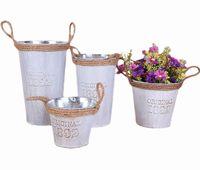 10PCS Pastorale Retrostyle bianco Brocca Rustic Chic cilindrico in metallo zincato Benne con corda manico Per la casa vasi di fiore della decorazione