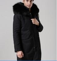 패션 meifeng 브랜드 토끼 모피 안감 블랙 너구리 모피 hoody 남성 스노우 재킷과 긴 긴 파카