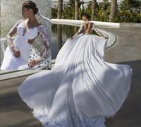 2016 kant backless trouwjurken sheer nek illusie lange mouw chiffon over rok strand bruidsjurken afneembare trein trouwjurken