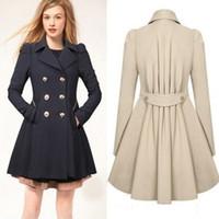 2017 invierno otoño abrigo mujer casaco feminino abrigos mujer a-line nuevo clásico doble pecho negro abrigo negro talla abrigo FS0640