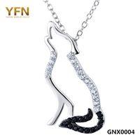 925 colar de prata esterlina preto branco cubic zirconia lobo colares pingentes homens e mulheres jóias gnx0004 presente de natal