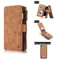 Luxury Retro Leather Flip Multi- function Removable Wallet Ca...