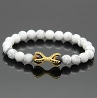 Großhandel 10 teile / los Weiß Howlith Marmor Stein Gelb Tigerauge Perlen Micro Inlay Schwarz CZ Perlen Adler Pfote Herren Armbänder