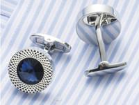 NOUVEAU Boutons de manchette en diamant de l'Autriche ronde chemises costume d'affaires hommes boutons de manchettes poignets en métal français liens deux couleurs