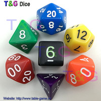 En gros 7pc / lot Jeu de dés multicolores de haute qualité D4,6,8,10,10%, 12,20 dnd jeux de dés, Jeu de société Dungeons and Dragons