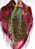 110cm Square Velvet silk feeling Nylon rayon peacock Burn Out Duster Opera Shawl Scarf Wrap women girl BIG 6pcs lot #4047