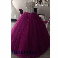 Purple Quinceanera Robes 2018 Modeste Image Real Doux 16 Bal D'anniversaire Parti Robe De Bal Debutante Robes Full Beade Top Tulle Robes De 15