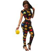 Emoji Print Women Tracksuit 2017 Summer Two Piece Set Crop T...