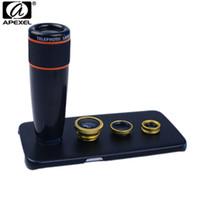 Apexel Telefon Kiti 12X Telefoto Balıkgözü Geniş Açı Makro Kılıf Samsung galaxy S7 kenar artı S6 S5 not 1285 lens