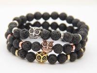 2016 Nouvelle Arrivée Hommes Perles Bracelets En Gros 8mm Lava Rock Pierre Perles Hibou Eagle Bracelets Parti Cadeaux