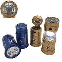Solar alimenté avec ventilateur portable USB Charge de téléphone LED Lumière Colapile lampe de poche Lanterne à main en plein air Lampe de randonnée