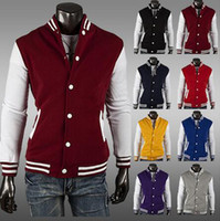 Envío gratis Hot sales-8 colores Premium Varsity College Letterman Baseball Jacket Jersey Jersey Hoodie Hoody M / L / XL / XXL