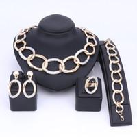 Prom Smycken Set för Kvinnor Party Bröllop Guldfärg Kedja Halsband Sets Bröllopsdag Bästa Present African Dubai Style
