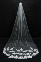 Elegante Branco One-Layer Véus De Noiva Longos Com Borda Do Laço Applique Marfim Tulle Véu De Casamento Barato Acessório Do Casamento Frete Grátis Em Estoque