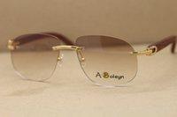 ديكور الخشب إطار T8100928 مصمم بدون إطار نظارات الخشب والزجاج الذهب أزياء النظارات الشمسية الزينة حجم الإطار: 56-18-140mm