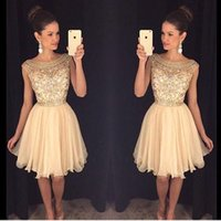 Light Yellow Sweet Mini Short Homecoming Dresses Crystal Bea...