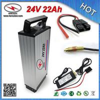 Großhandel Einzelhandel 24V 22Ah Gepäck Gepäckträger-Batterie mit Rack-3.7V 2.0A 18650 Zelle 30A BMS Aluminiumgehäuse + Ladegerät Freies SHIPPING