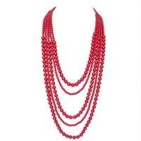 Red Fashion Necklace, Free shipping Necklace, Acrylic Bead New Design Necklace, Trendy Holiday Popular Women Necklace