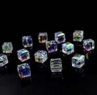 AB цвет Кристалл квадратные бусины для изготовления ювелирных изделий декоративное стекло DIY бусины материал Кристалл куб бусины 4 6 8 мм