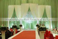 1PCS liberan el envío 3 ml * 4mH Izquierda Derecha 2 Open Side White Ice tela de seda del Telón de fondo de cortina para decoración de la boda