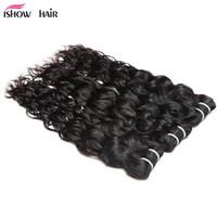 Ishow بالجملة 8A موجة مائية عذراء الشعر حزم لحمة 3 قطع 100٪ غير المجهزة البرازيلي بيرو الهندي ملحقات الماليزية للنساء جميع الأعمار 8-28 بوصة جيت الأسود