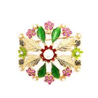 Mode à la mode Feuille Perle Strass Ronde Grande Fleur Broche Broche Or Tone Floral Bijoux Pour Cadeau En Gros 12 Pcs