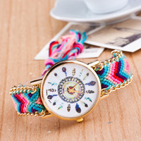 İzle Kadınlar El Yapımı Örgülü Dostluk Bilezik İzle tüy HandWoven kol Saati Quarzt altın İzle kadınlar elbise saatler