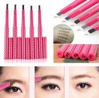 Maquillage professionnel sourcils Enhancers crayons liner crayon brun imperméable Rotation automatique carré coupe libre délicate aucune floraison 5 couleurs