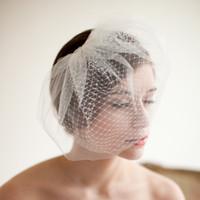 Vintage Birdcage Hochzeitsschleier Gesicht Blusher Hochzeit Haarstücke Zwei ters kurze Brautkopfstücke Bridal Schleier # V201