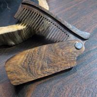 جديد وصول أسود خشب الصندل غرامة الأسنان الجيب الطي مشط جميع أنواع الشعر اللحية الشارب فرشاة شحن مجاني
