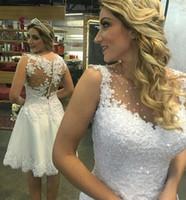 Элегантный Рукавов Короткие Свадебные Платья Длиной До Колен Танк Свадебные Платья Из Бисера Аппликация Короткое Платье Невесты