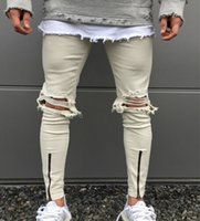 men ripped holes jeans Motorcycle Biker Denim For Men Brand ...