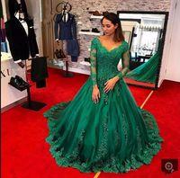 2017 Arabo Designer Modest Green Ball Gown Abiti Da Sera V-Neck Sheer Maniche Lunghe Robe De Soiree Formale Abiti di Promenade vestido de fiesta