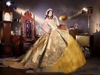 2019 brillantes vestidos de quinceañera de oro Embrodiery apliques de abalorios gradas 16 vestidos de fiesta de cumpleaños dulce con tren desmontable